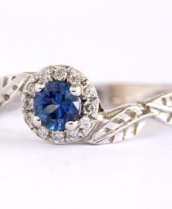 Halo Sapphire Leaves Engagement Ring, Leaf Diamond Engagement Ring