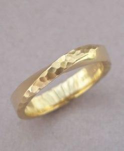 Hammered Mobius Wedding Ring, 14k/18k 4mm Textured Mobius Wedding Band