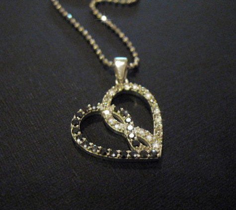 Infinity heart pendant, Infinity Diamond heart pendant