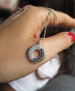 Infinity Pendant With Black And White Stones - A perfect balance pendant for you - ying yang pendant, mobius pendant