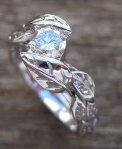 Leaf Diamond Engagement Ring, Engagement Leaf Ring