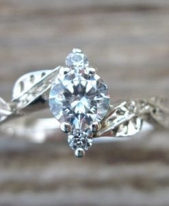 Leaf Engagement Ring, Gold Engagement Ring