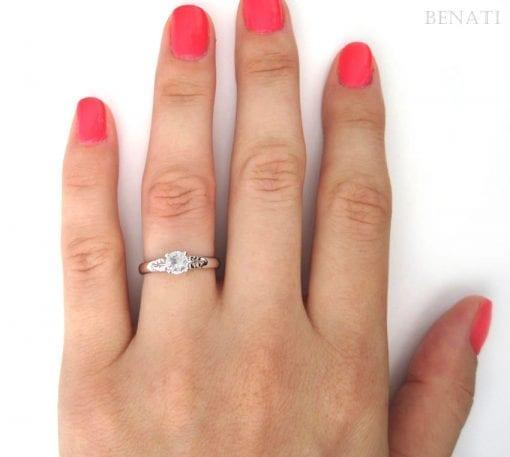 Leaf Engagement Ring, Moissanite vintage Ring