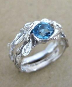 Leaf Engagement Ring Set, Blue Topaz Wedding Ring Set