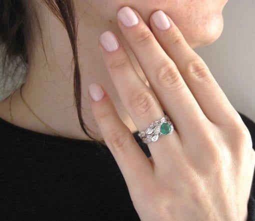 Leaf Engagement Set, White gold bridal set
