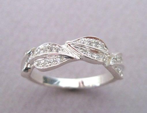 Leaf Engagement Wedding band, White Gold Leaf Ring