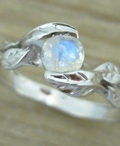 Leaf moonstone Gold ring, engagement ring