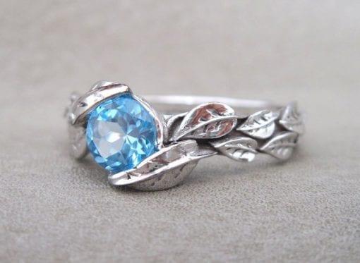 Leaf Ring, Blue Topaz Leaf Engagement Ring In White Gold