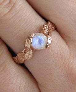 Leaf Ring With Moonstone 18k, Rose Gold Moonstone Ring