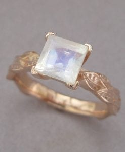 Leaf Ring With Square Cut Moonstone, Princess Cut Moonstone Ring