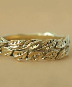 Leaf Wedding Ring, Gold Wedding Leaf Ring