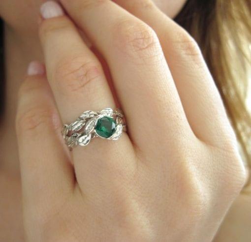 Leaf Wedding Set, Leaf Engagement Ring Set
