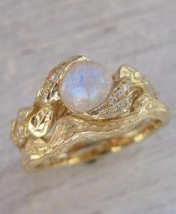 Leaves Bridel Set, Leaf Wedding Engagement Ring Set