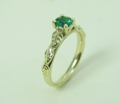 Leaves Engagement Ring, Emerald engagement ring