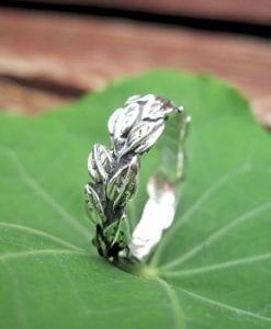 Leaves Wedding Ring In 14k White Gold, Leaf Wedding band