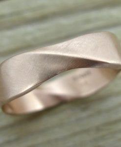 Matte Rose Gold Mobius Wedding Ring, 6mm Width Mobius Ring