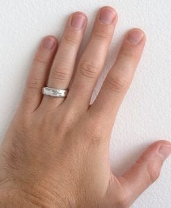 Mens hammered stepped Beveled edge band, white gold wide mens wedding band