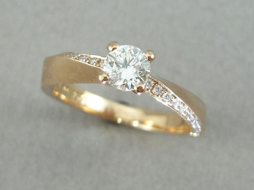 Mobius Wave Diamond Engagement Ring, Yellow Gold Diamond Mobius Engagement Ring