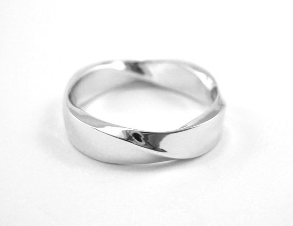 Mobius Wedding ring, 5mm Rectangle Profile Mobius Ring In 14k White Gold