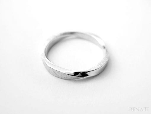 Mobius Wedding ring - Square Profile Mobius Ring In 14k White Gold, Mobius Wedding band