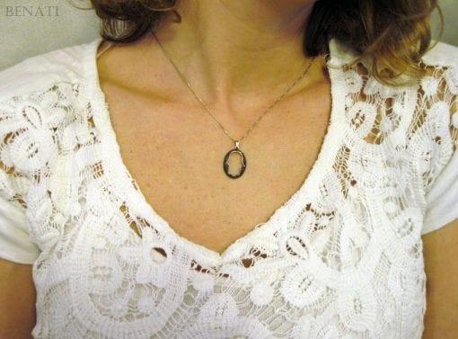 Modern oval hamsa pendant - protection - goodluck - black - holiday - gift -  dark - high fashion - fine - new hamsa design