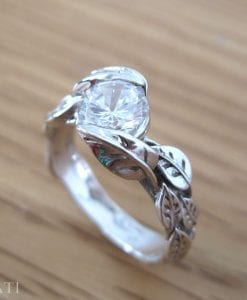 Moissanite Engagement Ring, Floral Ring Set In 14k White Gold