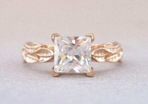Moissanite Engagement Ring, Rose Gold Leaf Engagement Ring With Moissanite
