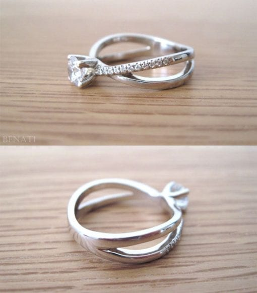 Moissanite Infinity Engagement  Ring, Diamond Infinity Engagement Ring