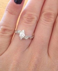 Moissanite Leaf Engagement Ring, Leaves Moissanite Ring