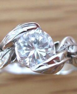Moissanite Leaf Engagement Ring, Moissanite Engagement Ring