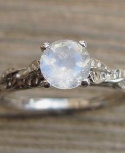 Moonstone Engagement Ring, Leaf Engagement Ring
