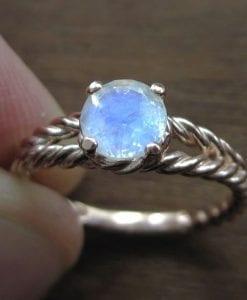 Moonstone Engagement Ring, Moonstone Rose Gold Engagement Ring