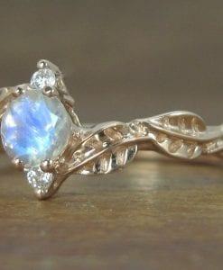 Moonstone Leaf Engagement Ring, Leaf Engagement Ring Rose Gold
