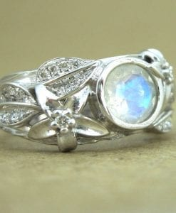 Moonstone Leaf Ring, White Gold Moonstone Ring