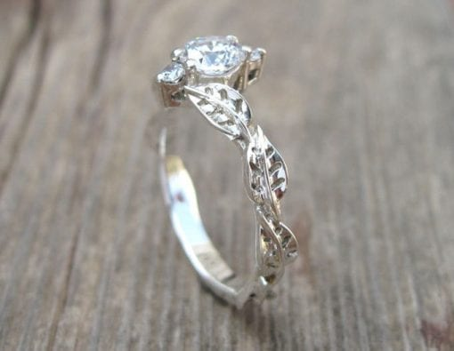 Natural White Sapphire Leaf Engagement Ring, Natural Leaf Engagement Ring