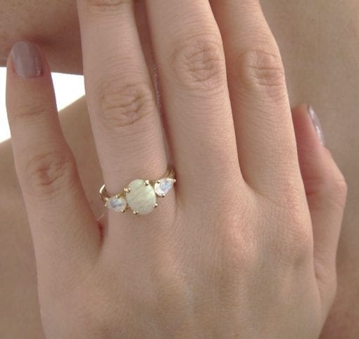 Opal And Moonstone Engagement Ring, Opal Three Stone Engagement Ring