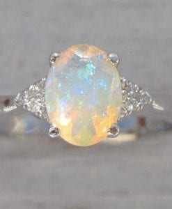 Opal Engagement Ring, Antique Style Engagement Opal Ring