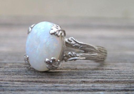 Opal Leaf Engagement Ring, Opal Leaves Engagement Ring
