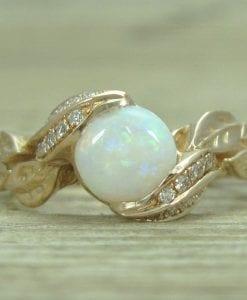 Opal Leaf Engagement Rose Gold Ring, Leaf Opal Ring