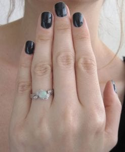 Opal Leaf Ring, Opal Engagement Ring