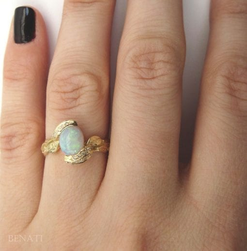Opal Leaves Ring, Opal Engagement Ring