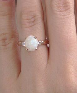 Opal Moonstone Antique Engagement Ring, Antique Rose Gold Ring