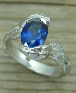Oval Sapphire Engagement Ring, Oval Engagement Ring