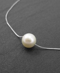 Pearl gold necklace, single pearl gold necklace
