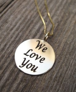 Personalized Gold Pendant With Engraving, Round Personalized Gold Charm With Any Engraving In 14k Solid Gold