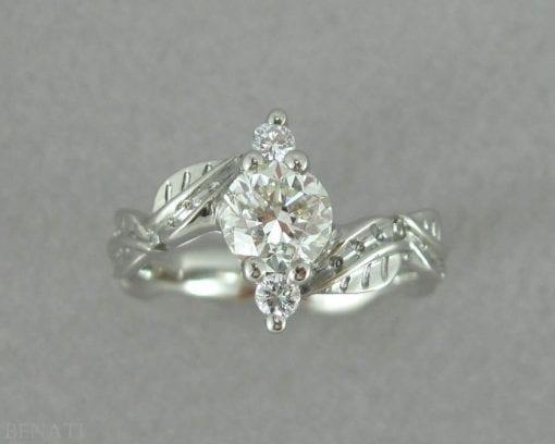 Platinum 1 carat Diamond Leaf Engagement Ring,Leaves Engagement Ring