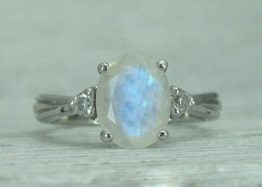 Rainbow Moonstone Ring Set, Antique Moonstone Engagement Ring Set