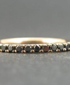 Rose Gold Diamond Eternity Band, Rose Gold  Black Diamond Ring
