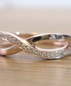 Rose Gold Diamond Knot Ring, Infinity Knot Ring
