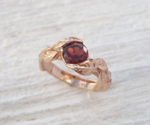 Rose Gold Garnet Leaf Engagement Ring, Garnet Leaves Engagement Ring